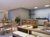 Perspectiva ilustrada do salão de festas com espaço gourmet